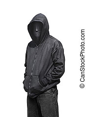 Portrait of man wearing anonymous mask isolated against white background