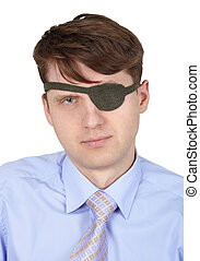 Portrait of man with one eye on white background