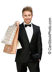 Portrait of manager with shopping bags