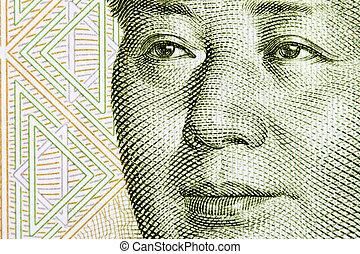 Portrait of Mao - Portrait of the chairman Mao fron one yuan...