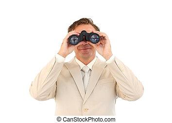 Portrait of mature businessman using binoculars