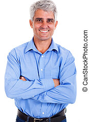 mature man arms crossed - portrait of mature man arms...
