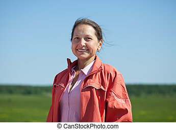 portrait of mature woman - Outdoor portrait of smiling...