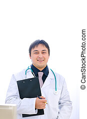 Portrait of medical doctor with clipboard