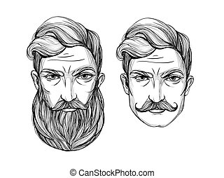 Portrait of men with beard and mustache.