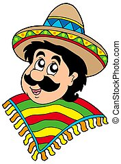Portrait of Mexican man - isolated illustration.