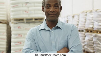 Portrait of middle aged male warehouse worker 4k - Portrait ...