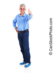 portrait of middle aged man giving thumb up - full length...