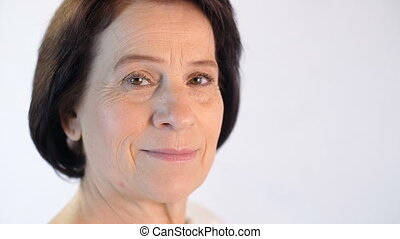 Portrait of middle aged woman - closeup portrait of elegant...
