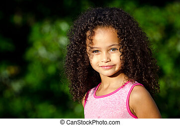 Portrait of mixed race girl - Outdoor portrait of pretty...