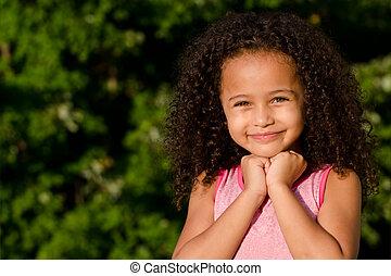 Portrait of mixed race girl