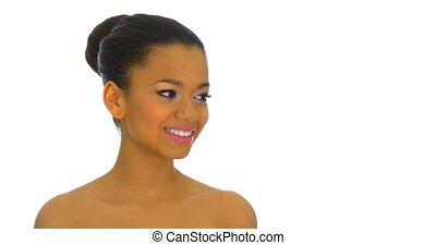 Portrait of mixed race woman - Close up portrait of mixed...