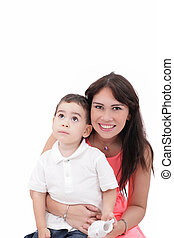 Portrait of mother and child, isolated on white