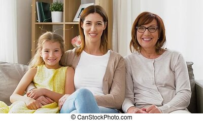 portrait of mother, daughter and grandmother - family, three...