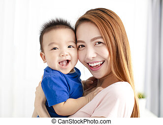 Portrait of Mother with happy son