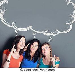 three girl best friend thinking