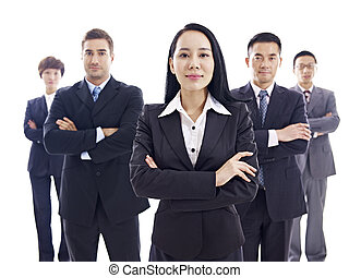 studio portrait of a multinational business team, isolated on white background.