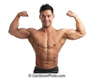 Portrait of muscular man flexing his biceps
