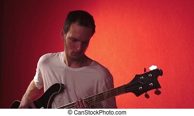 Portrait of musician on red bacground HD
