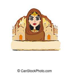 Portrait of muslim beautiful girl in hijab