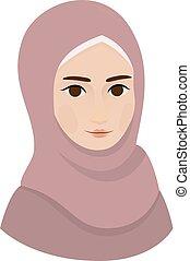 Portrait of muslim beautiful girl woman in hijab, vector illustration