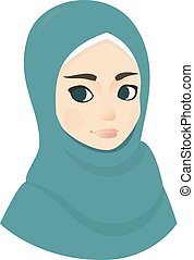 Portrait of muslim beautiful girl woman in hijab, vector illustration