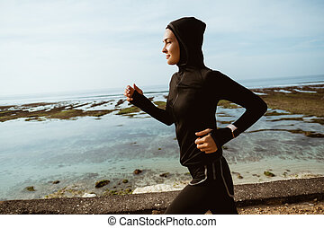 muslim sport runner woman outdoor