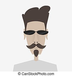 Portrait of mustachioed man in sunglasses,
