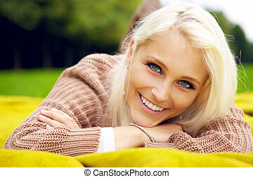 Portrait of natural smiling woman
