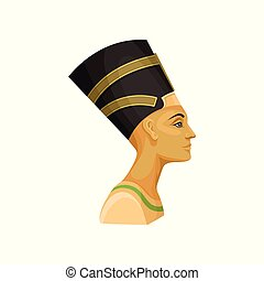 Portrait of Nefertiti. Queen of ancient Egypt. Wife of Egyptian pharaoh. Flat vector for promo poster or banner of travel agency