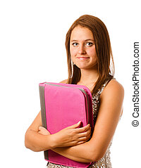 Portrait of nervous shy teenage girl with pink binder or notebook ready for back to school isolated on white