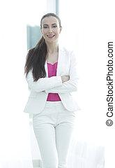 portrait of novice business women in office - business...