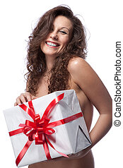 portrait of nude smiling woman with gift isolated on white