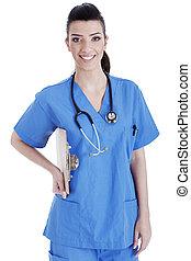 Portrait of nurse holding the clipboard