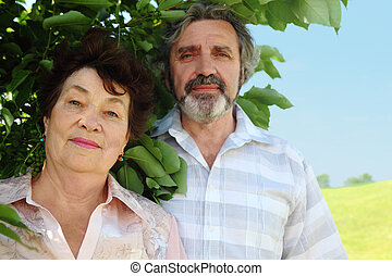 portrait of old man and woman standing near summer tree, focus on woman