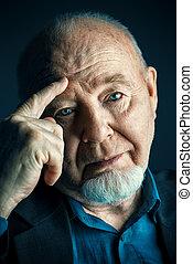 portrait of old man - Portrait of old man over black...