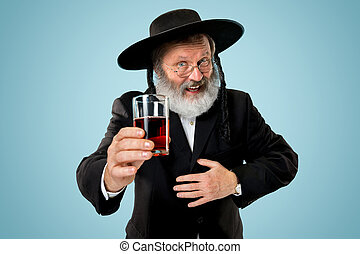 Portrait of old senior orthodox Hasdim Jewish man