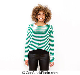 one african american young woman standing against white background