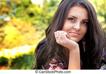 Portrait of one beautiful woman in nature - Portrait of one...