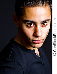 Portrait of one hispanic handsome man