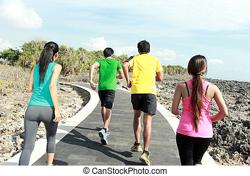 portrait of people running together