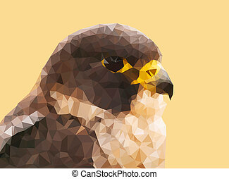 Portrait of peregrine falcon from triangles