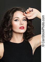 Portrait of perfect brunette model woman with makeup