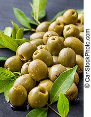 pile of fresh green olives