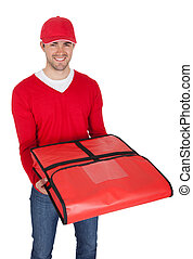 Portrait of pizza delivery boy with thermal bag. Isolated on...