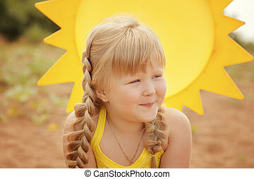 Portrait of playful little girl on vacation