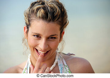 Portrait of playful woman