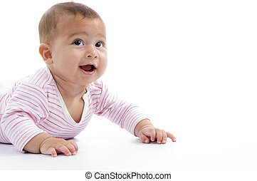 portrait of playing cute baby looking upward on an isolated background