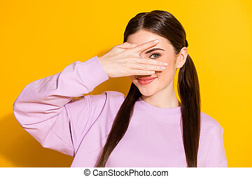 Portrait of positive cute sweet lovely girl hide her face with hand palm feel shy about meeting with boyfriend wear stylish trendy style pullover isolated over bright shine color background