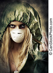 Portrait of post apocalypse girl which shows a gesture to...